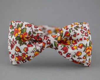Boho Bow Tie for Women Bow Tie for Men Floral Bow Tie Orange Bow Tie Gift for Girlfriend Gift for Husband Mens Bow Tie Wedding Bow Tie