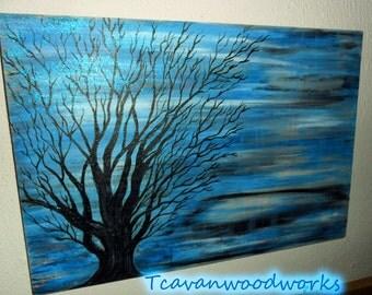 blue gray abstract art tree silhouette  tree wall art tree glitter decor  original art, wood wall art, tcavanwoodworks