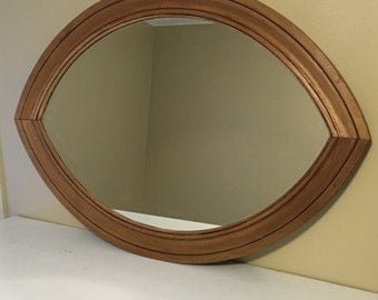 Oval Mirror Wood Poplar Stained Glazed