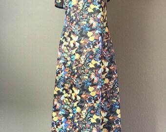 Vintage 1970's hippie era polyester butterfly print maxi dress S
