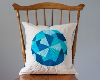 Turquoise Pillow Cover - Aquamarine Jewel, Quilted Gem - Aqua