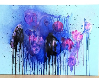 Original Abstract Painting mixed media mint blue purple pink