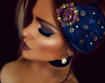 Mermaid hair piece hair jewelry crystal hair comb feather