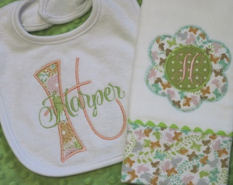 Personalized Baby Girl Burp Cloth and Bib Set