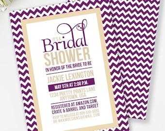 Chevron Bridal Shower Invitation, Plum and Champagne Bridal Shower, Chevron Invitation, Bridal Invitation, Printable Invite, #30