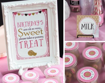 Milk and Cookies Table Signs, Treat Table Sign, Drink Sign, Cookie Favor Tag, Pink Girl Birthday Decor, INSTANT DOWNLOAD, #54