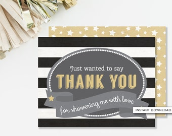Little Star Thank You Card, Twinkle Twinkle Baby Shower, Gender Neutral, Thank You Stationary, Black and Gold, INSTANT DOWNLOAD, #B3