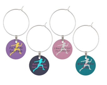 Running Wine Glass Charms, Gift For Runner, Gift For Marathon Runner, Glass Tags, Running Wine Charms, Glass Markers, Running, 5K gift
