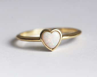 Opal Heart ring, Opal Solitaire Ring, Bezel Opal Ring, Simple Opal Band, Anniversary Ring