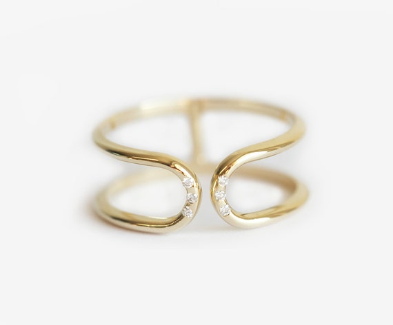 Yellow Gold Ring Double Band Ring Diamond Band Diamond