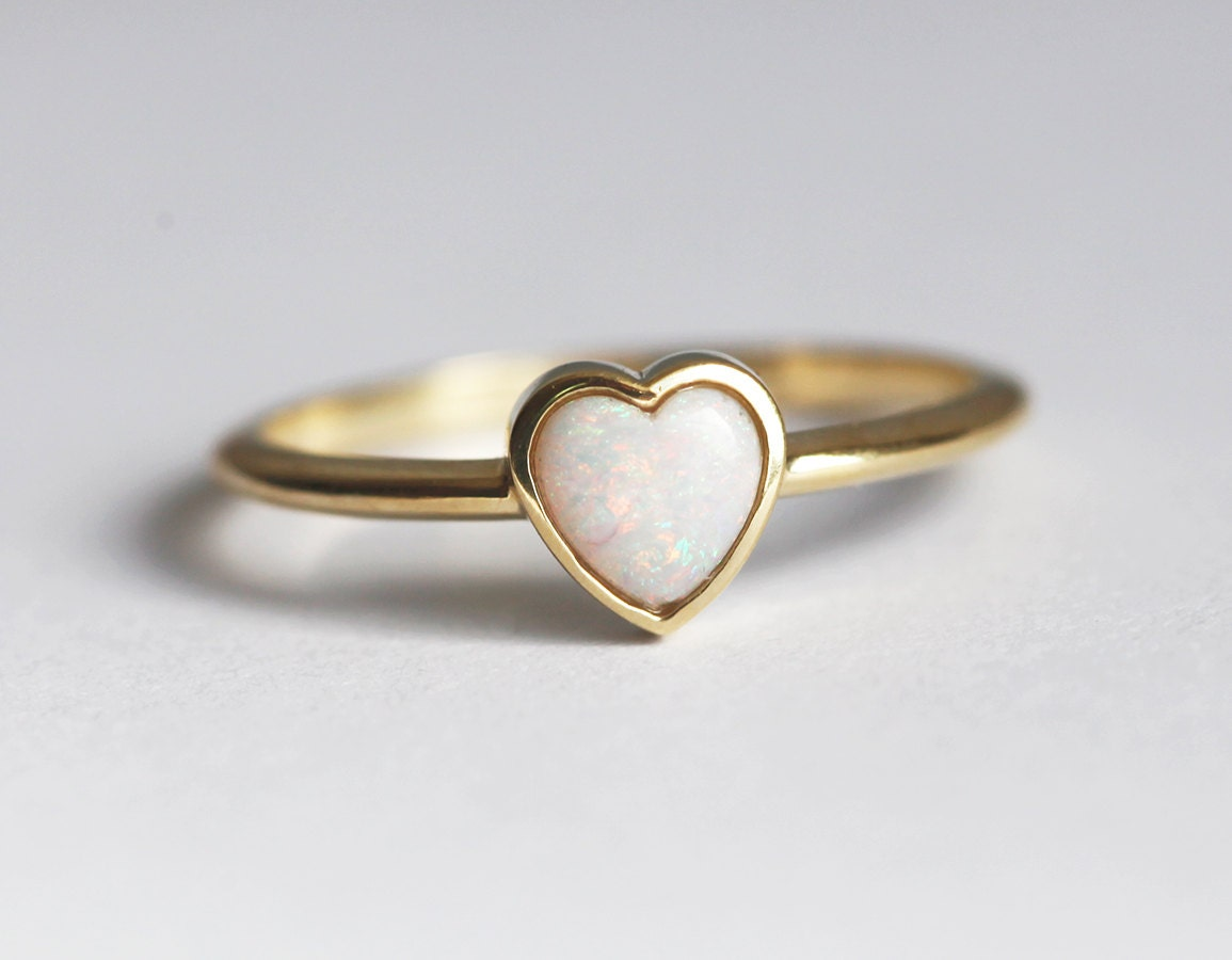 opal ring opal solitaire ring bezel opal ring simple