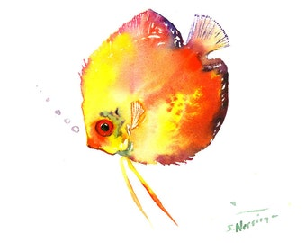 Yellow Discus FIsh, Original watercolor painting, 8 X 10 in, red Yellow fish art. Fish painting, aquarium fish, flame colors