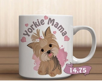 Yorkie Mom Dog Lover Gift Birthday Mug Yorkshire Terrier Art Pink with Hearts 11oz Puppy Coffee Tea Pooch Best Friend