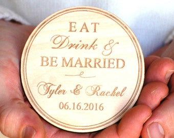 Eat Drink and Be Married Save the Date Magnets Personalized Save the Date Postcards Wood Rustic Wedding Save the Date Invitation Engraved