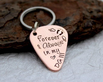 Memorial Keychain - Memorial Gift for Men - Loss of a Loved one - Infant Loss - Daddy to an Angel - Forever and Always - Always in my Heart