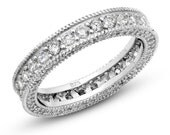 925 Solid Sterling Silver Eternity Band,  Cubic Zirconia CZ Vintage Milgrain Ring, CZ Stones on Three Sides