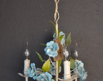 Tole flower chandelier with blue flowers