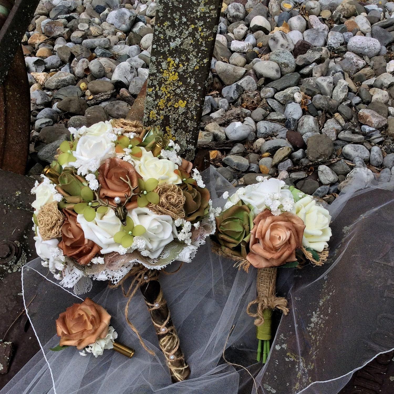 Camo Wedding Ideas Rustic Barn: Country WEDDING BOUQUET SET/Rustic Wedding Set-Camo Wedding
