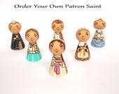 Personalized Saint peg doll Catholic saint dolls Patron saint peg dolls First communion gift Custom figurine Confirmation gift Wooden peg