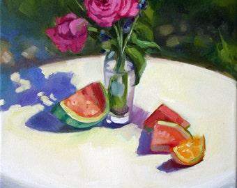 Original Oil Painting Floral Still Life, Roses, Watermelon, Oil on Canvas, Signed Original, Impressionist, Plein Air, Floral, Canvas Art