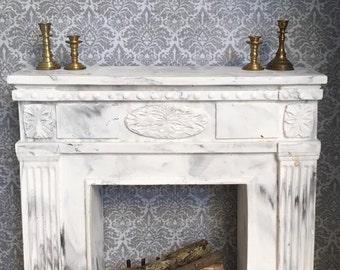 Vintage dollhouse fireplace mantle
