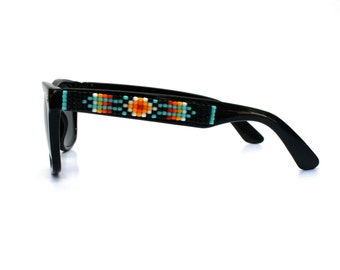 Children's Sunglasses, Beaded Sunglasses, Black Navajo-Inspired Sunglasses, Wayfarer Sunglasses, Ray Ban Style, Kids Sunglasses, Unique Gift