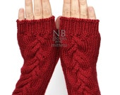 Hand Knitted Fingerless Gloves,  Red, Clothing And Accessories, Gloves & Mittens, READY TO SHIP, size M, M/L