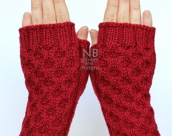 Hand Knitted Fingerless Gloves, Red, Gloves & Mittens, Christmas. Gift,  READY TO SHIP, size M, M/L