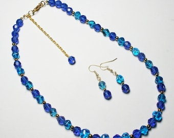 Blue Beaded Necklace, Two Tone Blue Necklace, Blue Beaded Necklace and Earring Set, Drop Earrings, Women's Jewelry, Translucent Necklace