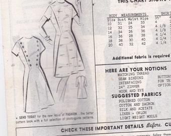 Patt O Rama 8147 Mail Order Pattern Vintage Pattern Womens Diagonal Double Button Trim Bodice A Line Dress Size 16 Bust 36 UNCUT