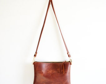 Leather crossbody bag  / Minimalist bag / Small leather bag / Leather purse / Simple leather bag  / Russet leather