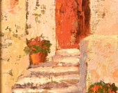 Red Door diptych, Italy original oil painting landscape 8x10 framed