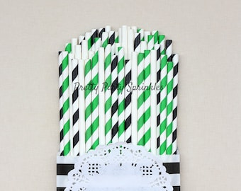 Green, White, Black Striped Straws, Starbucks Party, Dinosaur Birthday, Christmas Decor, Baby Shower, Safari Party Idea, Emerald Wedding