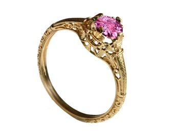 14K Vintage solitaire pink sapphire Engagement ring 18k yellow gold filigree engagement ring, promise ring, September birthstone ring