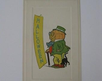 Halloween Vintage Post Card - Pumpkinhead Man with Black Cat - Unused - 1910s