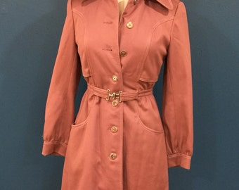 Mauve 1970s Lady's Skat Belted Trench Coat