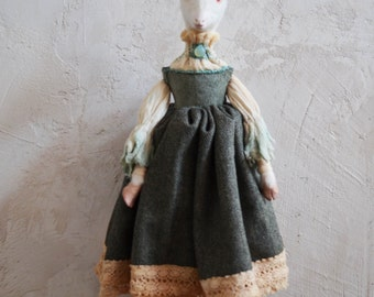 DREYA Goat Girl Art Doll - Ooak - Paper Clay Art Doll - Nigrica Art Dolls