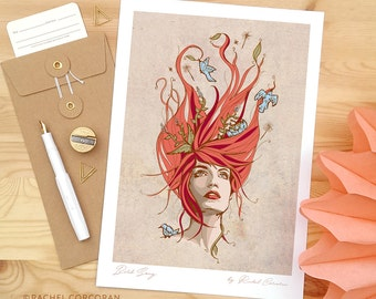 Original Illustration - Florence and The Machine - Bird Song by Rachel Corcoran - Portrait Poster - Wall Art - Botanical - Fashion - Flowers