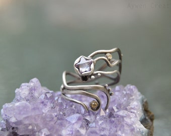 Star Crossed Lovers - Adjustable Sterling Silver Fashion Ring Purple, Black, and White Diamond Cubic Zirconia Gem