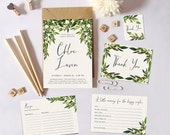 Greenery Bridal Shower Invitation, Printable Botanical Shower Invites, DIY Shower Party Pack, Bridal Shower Suite, Advice card, Favors Tags