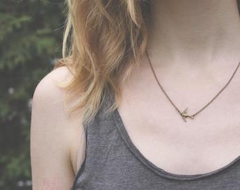 Bird Necklace // Little Sparrow // Bird Watcher Necklace // Swallow // Woodland Necklace // Antique Brass Necklace