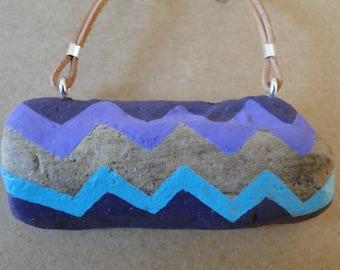 Painted Driftwood Pendant Necklace - Tribal Zigzag