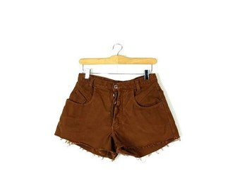 Free shipping Vintage Brown  Denim cut off Shorts from 1980's/W27*