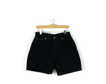 Free Shipping Vintage LEVI'S Black Denim Shorts from 90's/W30*