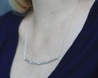 Bamboo stem handmade silver necklace (N0076)