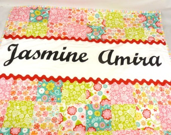 Personalized quilt, handmade girls cotbed quilt,handmade unique baby shower, new baby personalized gift, hand made in UK cotbed quilt