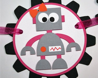 It's A Girl Robot Banner - Robot Baby Shower