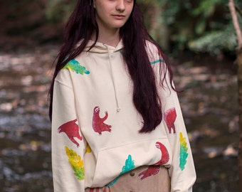 Hand Painted Sloths Hooded Sweater