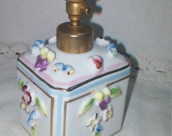 Vintage Irice Perfume Bottle Atomizer Vanity Applied Flowers
