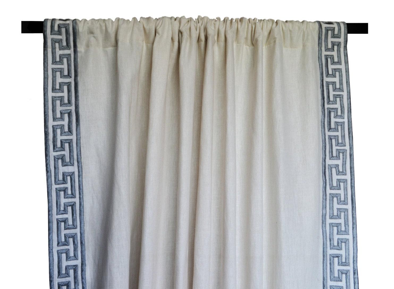 Linen Curtain Drape In Greek Key Gray Embroidery Ivory Greece